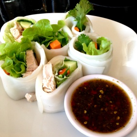 Liu Suan - Flat noodle rolls stuffed with chicken, vegies with a nice hot chilli herb sauce