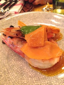 Charcoal Prawns with preserved pumpkin