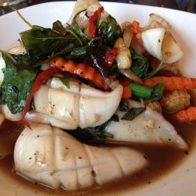 Muak Pad Cha - Stir fried SA line caught squid with Krachai, green peppercorn and prik pao chili paste