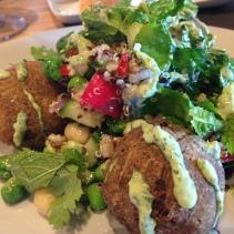 Felafel Salad - Chickpeas, quinoa, pearl barley, radish, preserved lemon, chilli and green tahini