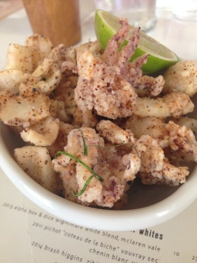 Muc Sua Chien Gion - Crispy fried baby squid, smoked chilli, kaffir lime