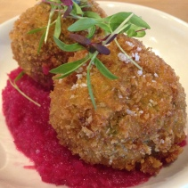 Spinach, Kefalotyri Sheep Cheese Croquettes on beetroot and turnip pickle