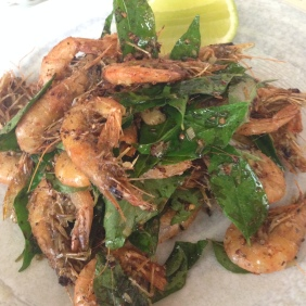 Tom Nau Chien - Crispy school prawns, lime, garlic, lemongrass