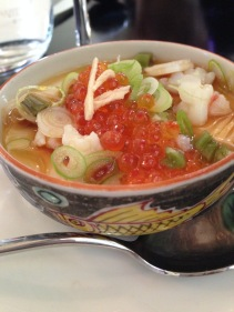 House made silken tofu, soused seafood, wasabi and ginger