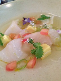Cured cobia, tomato and herb dashi, sake infused cucumber with sweet corn custard