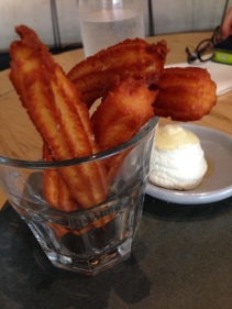 Goats Cheese Churros with truffle honey