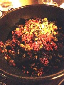Bibimap - Oxtail & rice, walnuts, sweet corn and cured egg yolk
