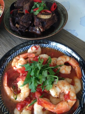Prawns sautéed with tomato, fish sauce and black pepper - Secrets of the Red Lantern