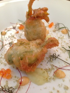 Spanner crab zucchini flowers, chilli aioli, fennel