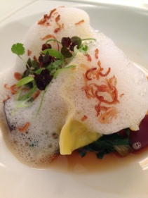Moreton Bay bug dumplings, sake emulsion, ponzu jelly, rainbow chard