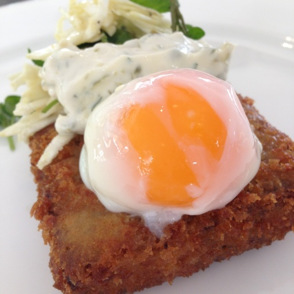 Crumbed Pigs Head, Celeriac Remoulade and Watercress