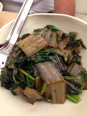 Stir fried spinach in xo