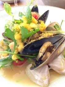 Kinkawooka Mussels, Goolwa cockles, Tobalong tomatoes, yellow split peas, bottarga.