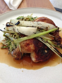 Savannah Farm young chicken, charred spring onion, wakame and sesame