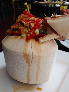 Hormok Ta Lay - Mixed SA Seafood Coconut Curry with egg, holy basil, peppercorn and cabbage served in a young coconut shell