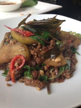 Pad Mak Kua Yao Nua - stir fried beef mince with augbergine and apple eggplant, chilli and basil