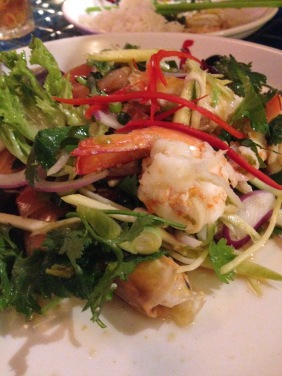 Thai Prawn Salad - lime leaves, mint, lemongrass, red onion