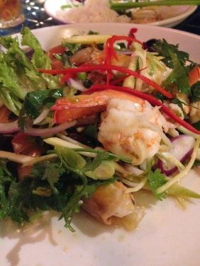 Thai Prawn Salad - lime leaves, mint, lemongrass, red onion