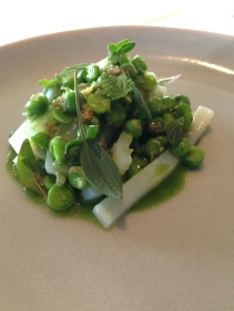 Calamari and fermented celeriac, grilled peas and beef fat