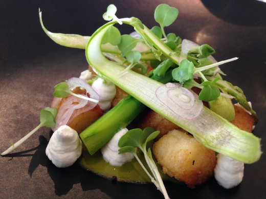 Pan fried Parisienne potato gnocchi, asparagus and goats curd
