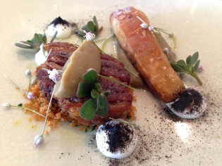 Lamb belly and rib with eggplant puree and goats curd