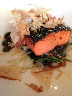 Ocean trout, enoki, sesame, samphire and bottarga