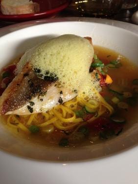 John Dory, mussels, saffron angel hair, summer vegetable minestrone