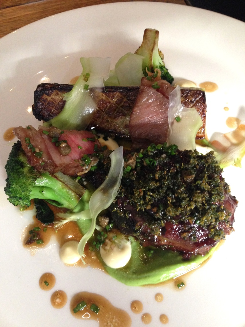 Wagyu short rib and cheek, broccoli and smoked oyster