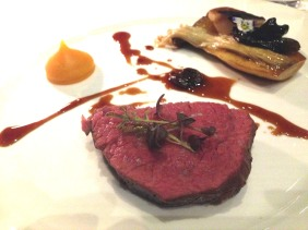 Beef fillet, roasted mushroom, butternut pumpkin puree, sour cherry jus, brandy soaked prunes, blackened pearl onion