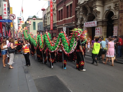 The dragon dance about to start outside
