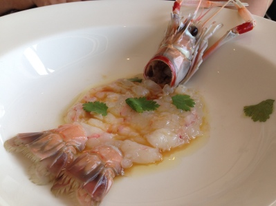 Raw scampi with citrus and coriander