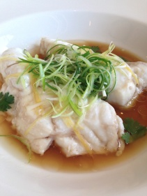 Steamed Bar Cod with ginger and shallots