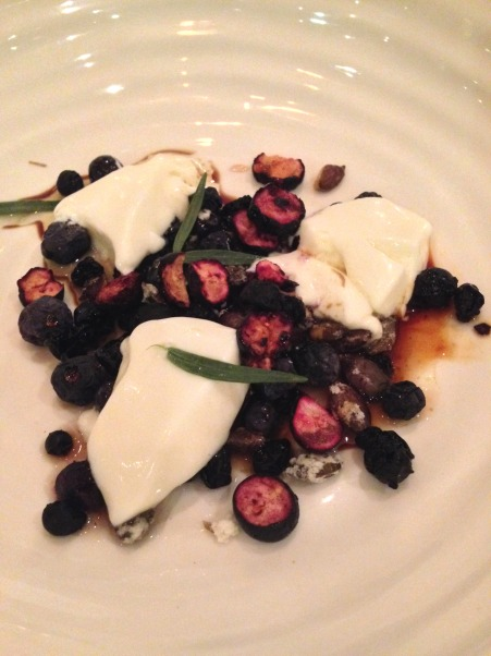 Blueberries, pumpkin oil roasted zante currants, native pepper and Guernsey curd