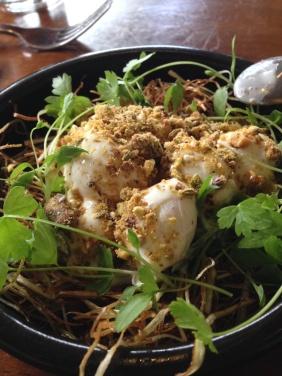 Soft poached quail eggs, sweet onion, dukkah