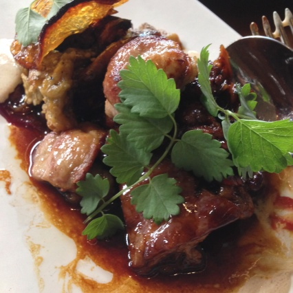 Slow cooked lamb, smoked sweetbreads, eggplant, kashk, mint, barberries