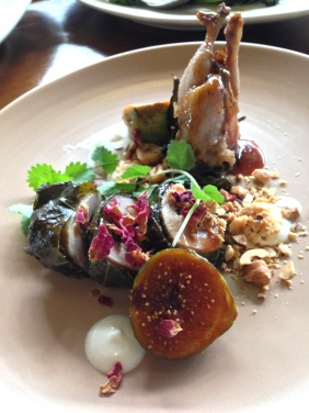 Vine leaf bound quail, almonds and rose, caramelized fig and smoked curd