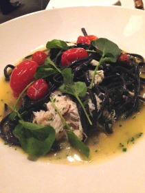 Blue swimmer crab, squid ink linguine, cherry tomatoes, basil & lemon