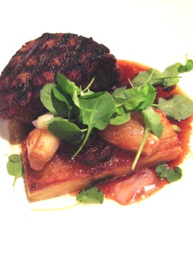 Beef City Black eye fillet, sarladaise potatoes, roasted shallots, oxtail jus