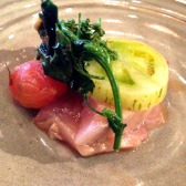 Bonito in green papaya, last tomatoes and benzaldehyde - Duncan