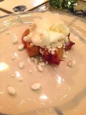Poached peach, bergamot, Maggie Beer verjus and jasmine rice ice cream - Dave