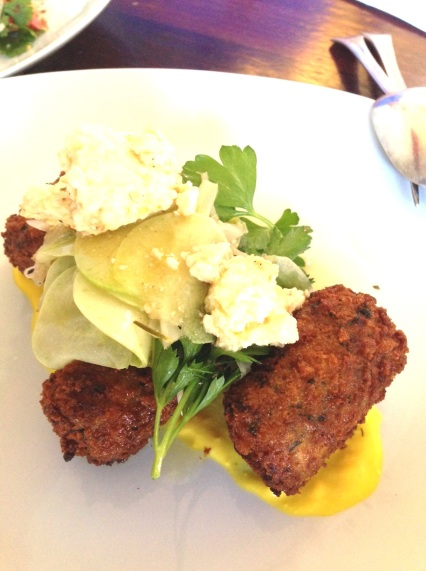 Baccala - Fried Fish Croquettes, Zucchini, Fennel Salad, Baked Ricotta