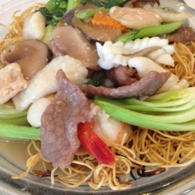 Combination with cripsy fried noodles
