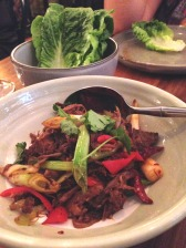 Xinjiang lamb shoulder stirfry , fragrant chillis, baby cos