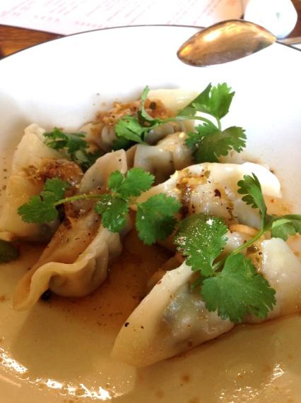 Steamed Prawn Dumplings, Ginger and Shallot Dressing