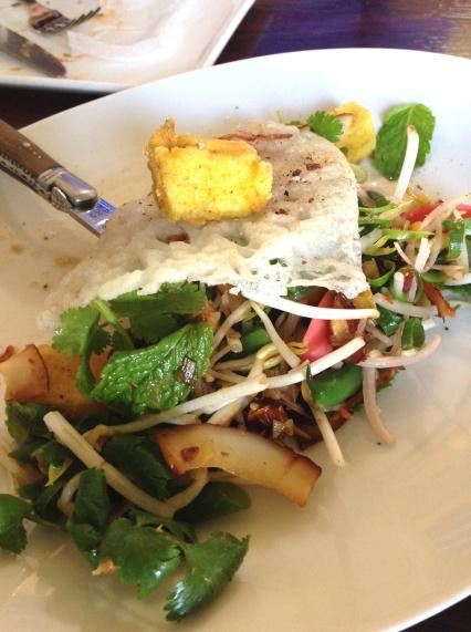 Vietnamese Pancake, Spiced Tofu, Green Beans, Almonds & Coconut