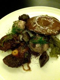 Pine mushrooms with confit duck gizzard, epazote, liver parfait