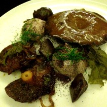 Pine mushrooms with confit duck gizzard, epazote, liver parfait