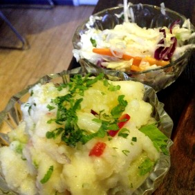 The sides - a slaw and a potato salad