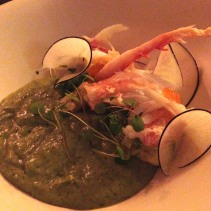 Alaskan King Crab Salad with Avocado, Gzpacho and Crème Fraiche