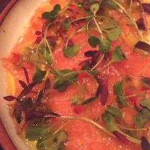 Salmon carpaccio, peperoni, colorati, capperi & olive oil